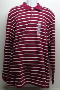 c1681f8d Details about John Ashford Size XL ESSENTIALS Red Wine Striped Long Sleeve  New Mens Polo Shirt