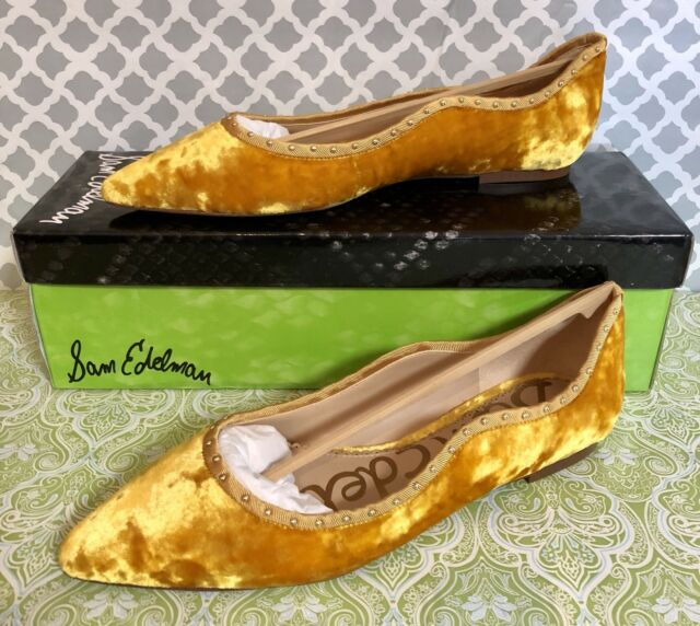 42a4ebf802c3 Sam Edelman Rivera (gold Crushed Velvet) Size 8m Pointy Toe Flats ...