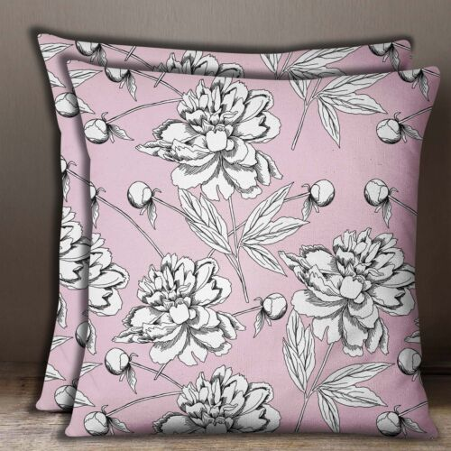 Floral Print Dusty Pink Cushion Cover Cotton Poplin Square ow Case 1 Pair