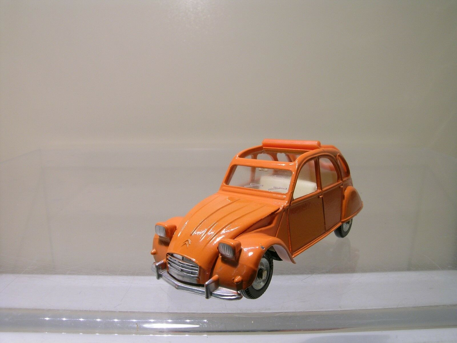 DINKY TOYS SPAIN 500 CITROEN 2CV SQUARE HEADLAMPS arancia NEAR-MINT SCALE 1 43