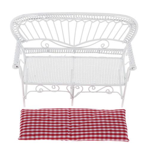 Weiß Puppenhaus Miniaturmöbel im Maßstab 1:12 Doppel Sofabank Rot
