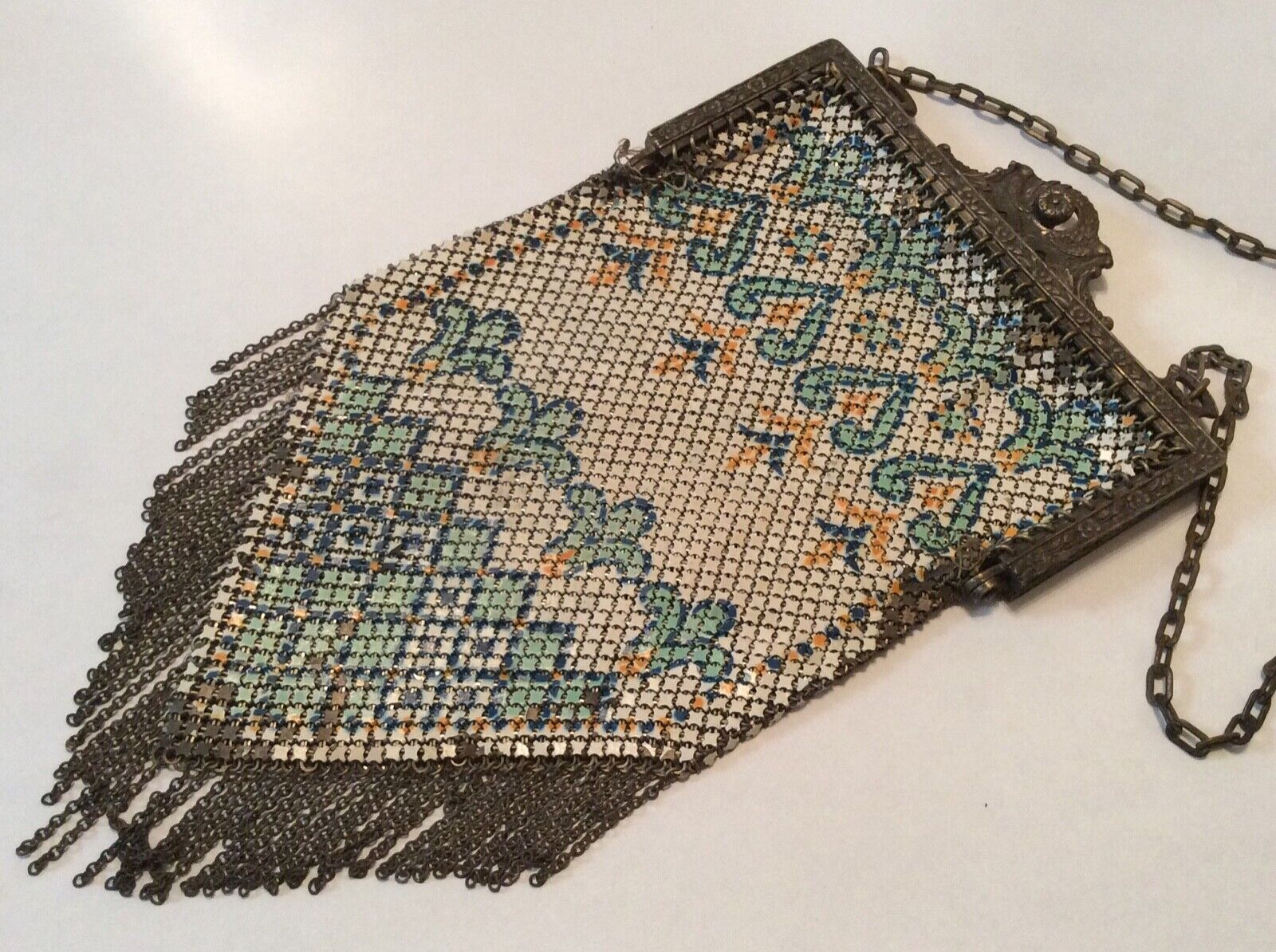 Antique Mandalian MFG Co Enamel Mesh Ladies Handb… - image 1