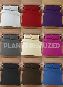 QUALITY PERCALE PLAIN DUVET QUILT COVER & PILLOWCASES BED LINEN BEDDING SET