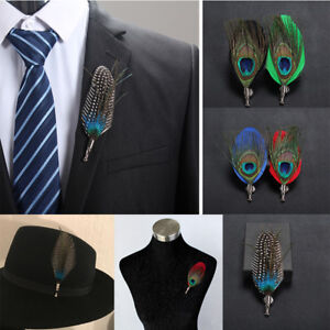 657658ac0eb Men Women Feather Brooch Lapel Pin Prom Corsage Hat Bridegroom Pin ...