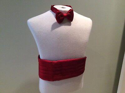Laborioso Bruno Piattelli Platino Fascia Papillon Set Rosso Formale Smoking Matrimonio Ampia Fornitura E Consegna Rapida