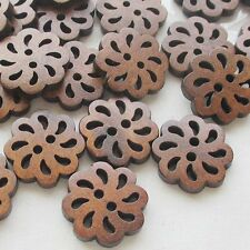Chenkou Craft New Hollow Flower Wood Buttons 20mm Sewing Craft Brown Wholesale
