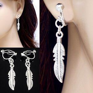 """#E121K NON-PIERCED CLIP ON Dangle Feather Angel Wings Drop Earrings 1.5"""" NEW"""