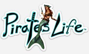 "Medium PIRATE'S LIFE Mermaid Queen Bumper Sticker 7.5"" x 4"" Vinyl Decal"