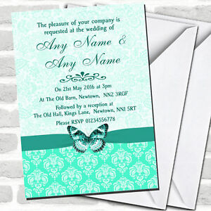 Details About Mint Green Vintage Floral Damask Butterfly Wedding Invitations