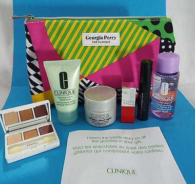 Clinique 7 Piece Georgia Perry, Cherry Pop Lip, Mascara, Soap Bag Remover Smart