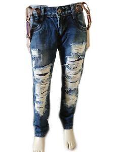 comprare popolare e5f54 f3590 Dettagli su Jeans strappato bretelle casual slimfit bambino ragazzo 4 6 8  10 12 anni