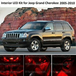 RED PREMIUM LED INTERIOR LIGHT BULB KIT for JEEP GRAND CHEROKEE 2005-2010