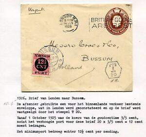 1926-GB-onvold-gefr-postwaarde-envelop-Londen-naar-Bussum-PORT-P-68-T-20