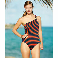 Michael Kors Striped One-shoulder One-piece Swimsuit Sz 8 Red/navy (k2)