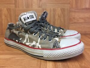 RARE-Converse-Chuck-Taylor-All-Star-Low-Camouflage-Camo-Red-Stripe-Sz-10-Men-039-s