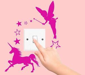 FAIRY-UNICORN-STARS-disney-sticker-LIGHT-SWITCH-PLUG-SURROUND-bedroom-WALL-ART