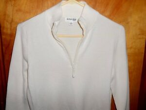 WOMEN'S ST JOHN BAY SWEATER 1/4 ZIPPER FRONT LONG SLEEVE CREAM COLOR SIZE Large
