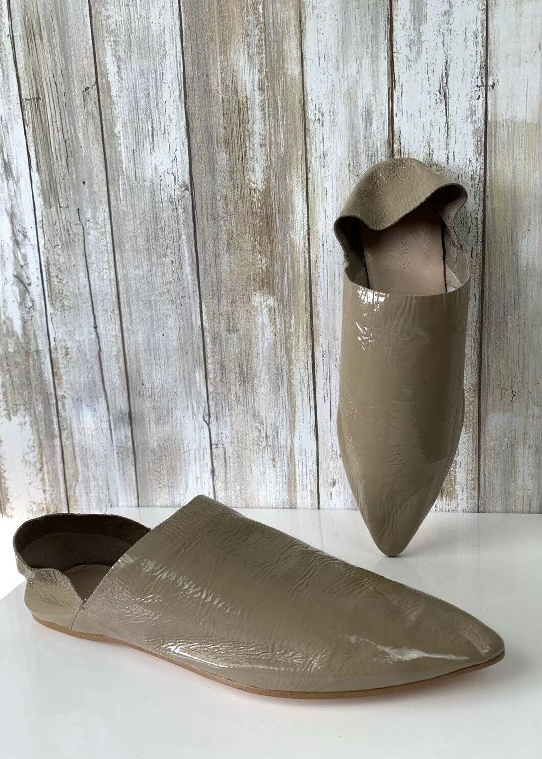 Zara Beige Marrón Topo Charol babouches diapositiva Flats zapatos 38 38 38 7.5 SS18 Blogger  solo para ti