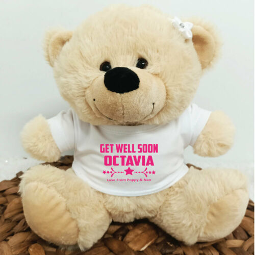 60th 21st 50th Personalised Get Well Bear Cream Plush  18th 40th