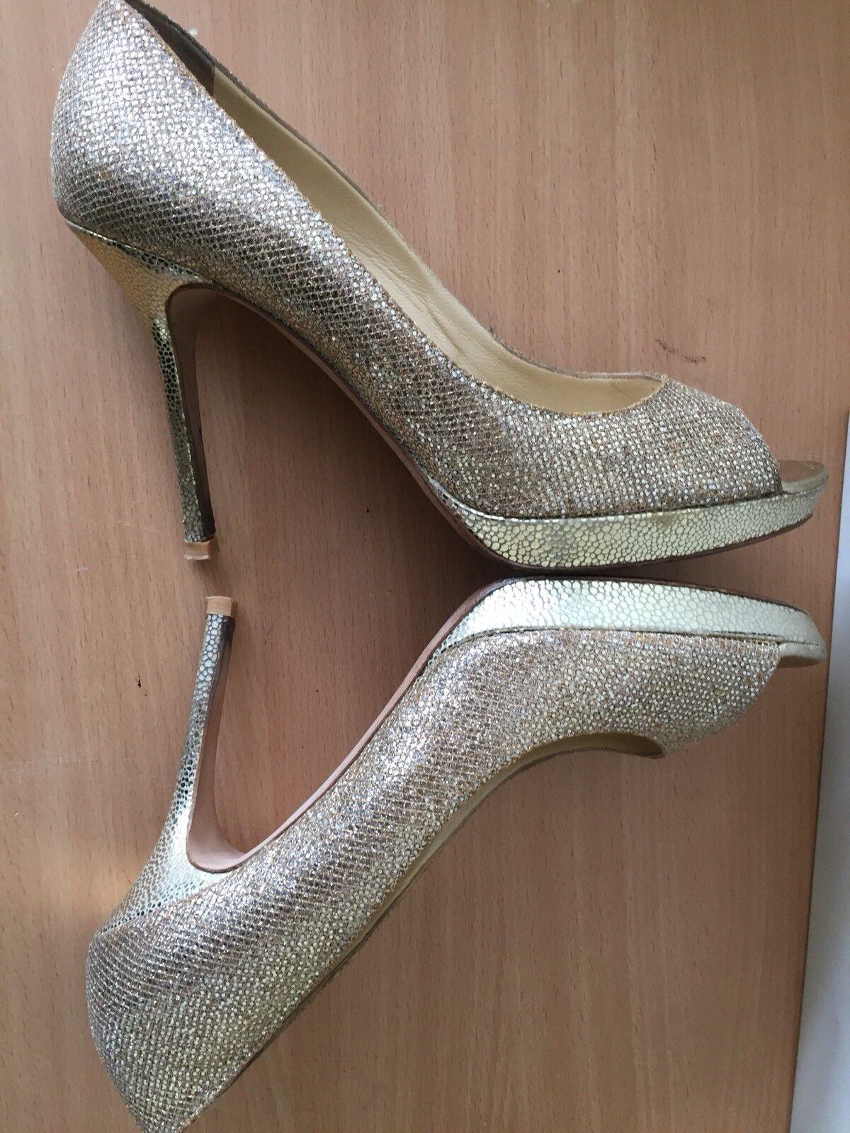 Jimmy Choo 40, Uk 7 Luna golden Open Toes Heels, Heels, Heels, Party, Wedding, Races b6f9fb