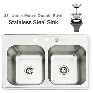 Stupendous Details About 33 X 22 X 8 Stainless Steel Double Bowl 18 Gauge Kitchen Sink Undermount Download Free Architecture Designs Terchretrmadebymaigaardcom