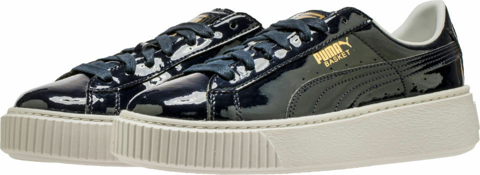 {363314-03}  Women PUMA Basket Platform Patent Sneaker NAVY blueE  NEW