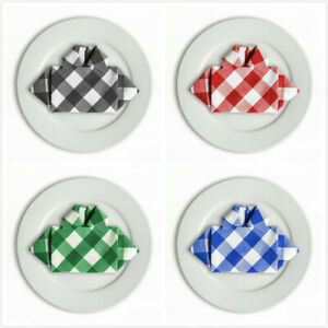Bulk-Sale-15-amp-17-in-Checkered-Gingham-Polyester-Napkins-12-pack-4-colors