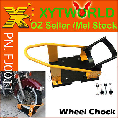 FJ0011 Motorcycle wheel Chock Removable Self Lock Trailer Truck Bed Mount Stand
