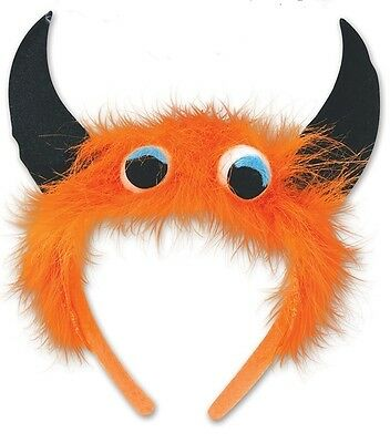 ORANGE Furry MONSTER HEADBAND Novelty Party COSTUME Accessory HALLOWEEN