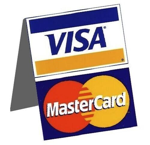 visa mastercard credit card cash register display table tent sign