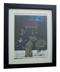 GORILLAZ-Clint-Eastwood-POSTER-AD-RARE-ORIGINAL-2001-FRAMED-EXPRESS-GLOBAL-SHIP