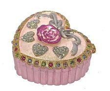 Pink Heart Jewelry Trinket Box Crystal Enamel Bejeweled Hinge Metal Collectible