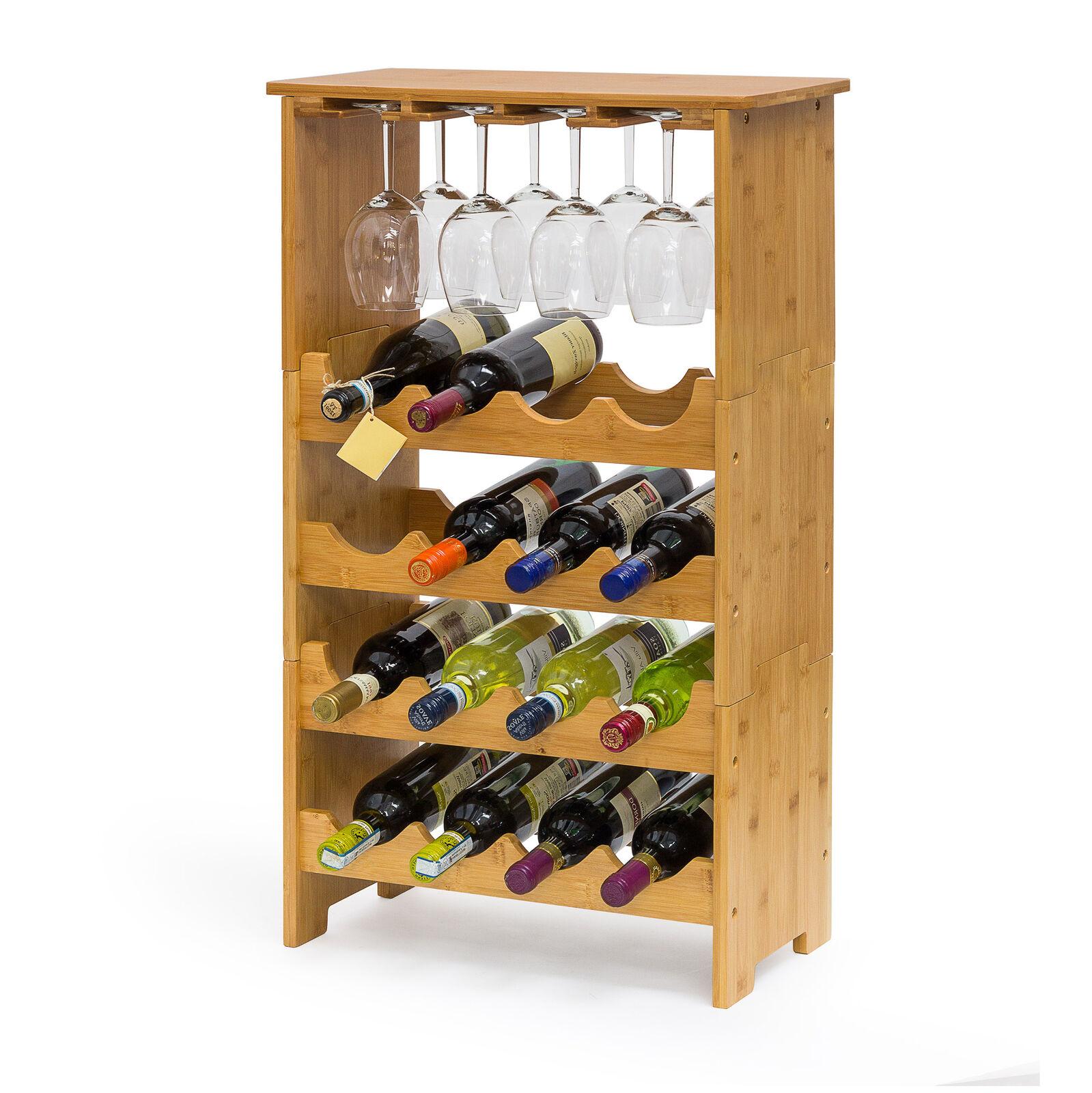 Étagère à vin casier à bouteilles bambou range-bouteilles porte-bouteilles bois