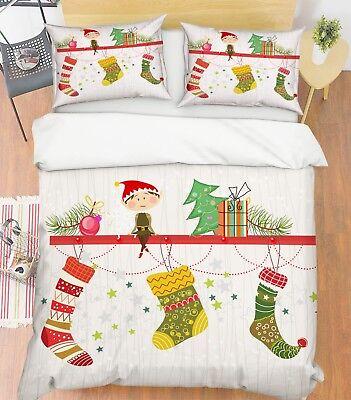 3d Weihnachten Xmas 569 Bett Kissenbezüge Steppen Duvet Decken Set Single De Delikatessen Von Allen Geliebt Bettwäschegarnituren Bettwaren, -wäsche & Matratzen