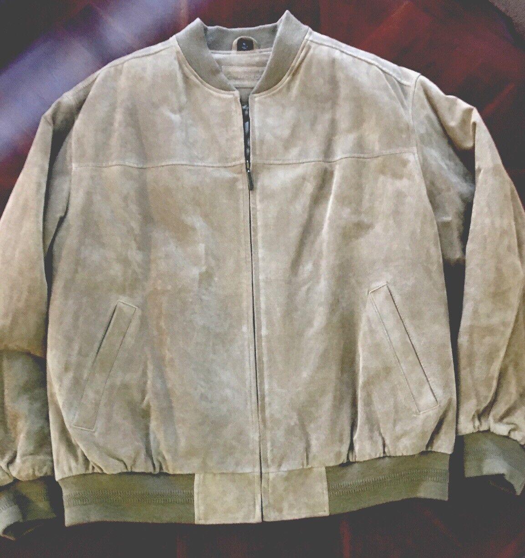 Carmel Tan Suede- Genuine- Leather Coat By John Ashford Size-XL New From Macy's