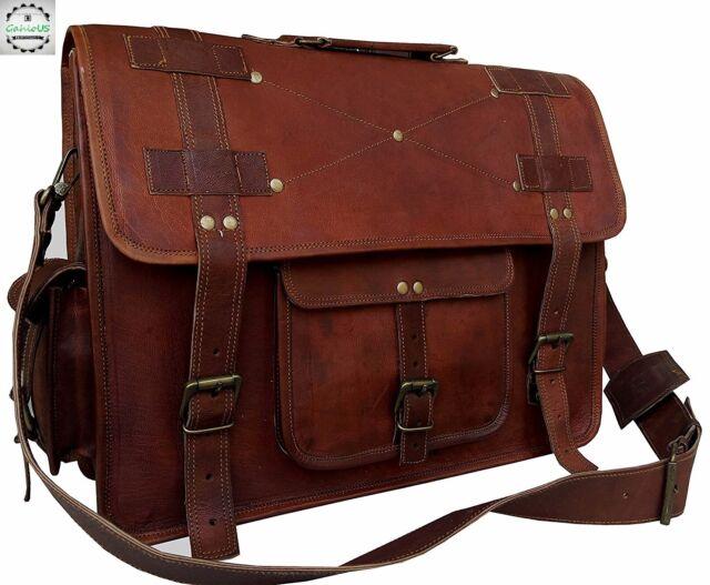 116b795fcb932 Vintage Couture 16 Inch Leather Messenger Bags for Men Women Mens Briefcase  Bag