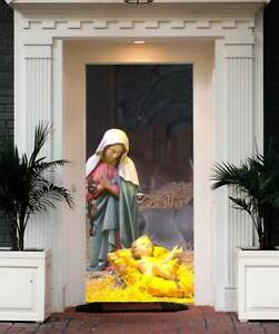 Image Is Loading Nativity Scene Christmas Entry Door Cover Outdoor Home