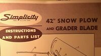 Simplicity Landlord Tractor Dozer Blade Snow Plow Owner & Parts (3 Manuals) 8pg