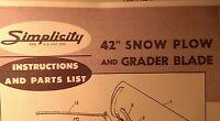 Simplicity Landlord Tractor Dozer Blade Snow Plow Owner & Parts (3 Manuals) 8pg