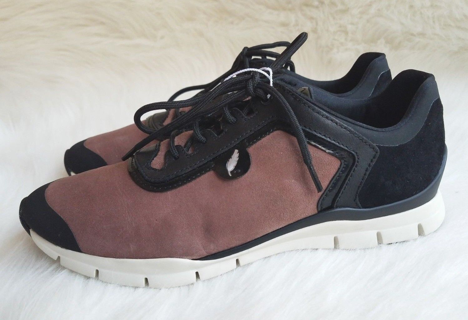 NWOB Donna  Geox 'Sukie' Old rosa nero Leather Leather Leather Lace Up Trainers scarpe Sz 8 cb9507