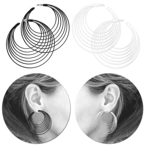 1 Paar Creolen Ohrstecker Ohrringe Huggie Hoops Schwarz Weiß Creole Ohrschmuck
