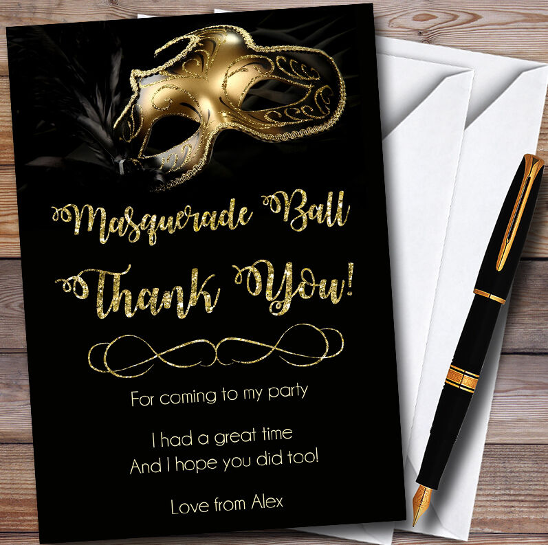 Golden Glitter Mask Masquerade Thank Ball Personalised Party You Cards 4289f4