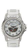 NEW Geneva Platinum Men's 4562 Entourage Silver Case White Dial Sillicone Watch