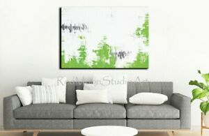 48x36-Original-Abstract-Art-Lime-Green-and-Gray-US-Artist