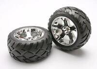 Traxxas 5577r Anaconda Tires W/all-star Front Wheels (2) Jato (chrome) Non Hex