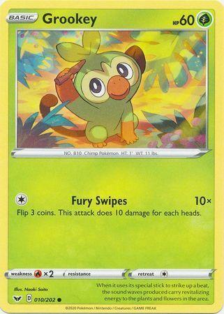 Common Pokemon Card - NM Sword /& Shield Set Grookey 010//202 2020