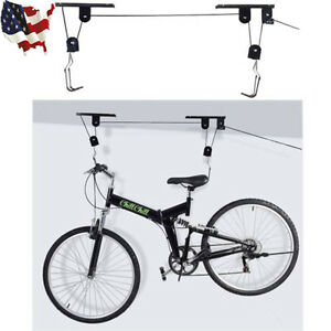 Bike Bicycle Lift Ceiling Mounted Pulley Hoist Rack Garage Storage Hooks Hanger