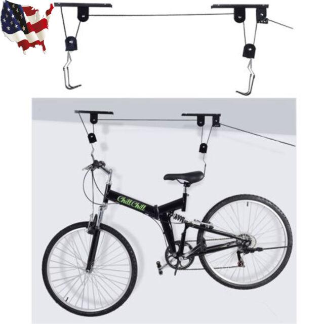 Bike Bicycle Lift Ceiling Mount Pulley Hoist Rack Garage Storage Hooks Hanger