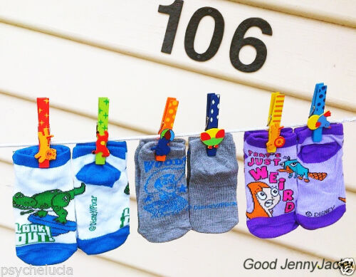 Disney 6 Pairs Cute Baby Kids Boys//Girls Toddler Walker Socks Hot with Pegs