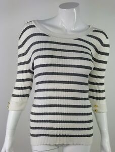 United-States-Sweaters-Women-Medium-White-Gray-Striped-3-4-Sleeve-Blouse-NWT